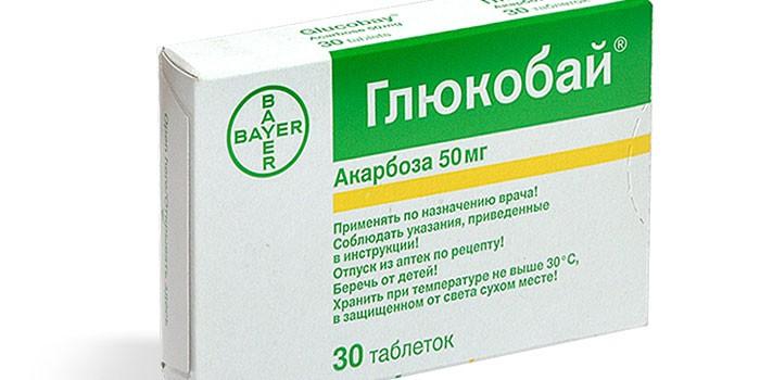 Упаковка препарата Акарбоза Глюкобай